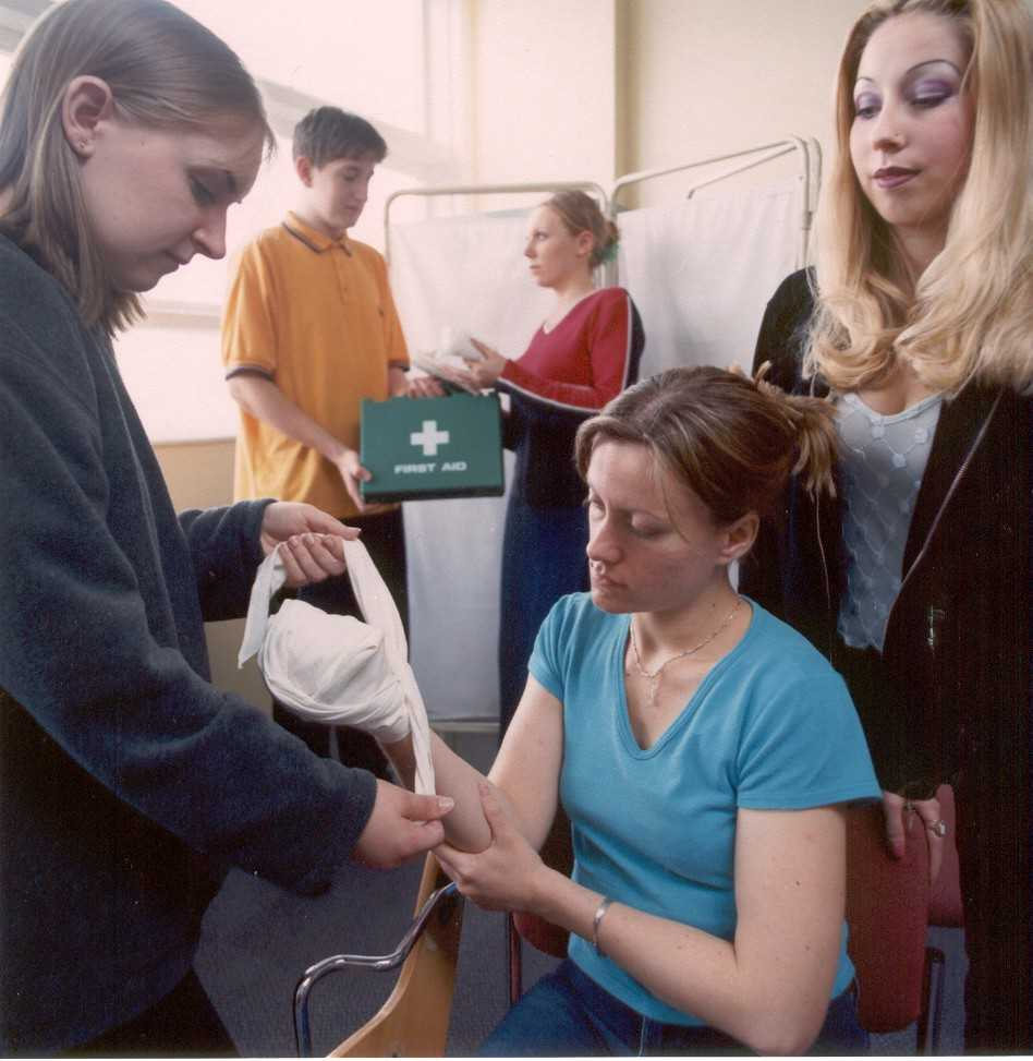 Students from hull collegepractising for health and social care award